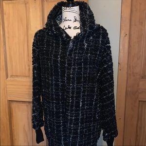 NWT M LLR B&W Plaid Teddy Bear Jacket